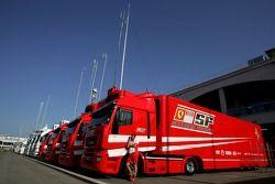 Scuderia Ferrari trucks in the paddock