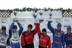 Podium: race winners Jon Fogarty and Alex Gurney, second place David Donohue and Darren Law, third p
