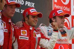 2º Kimi Raikkonen, 1º Felipe Massa y Fernando Alonso, 3º con McLaren