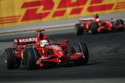 Felipe Massa, Scuderia Ferrari, F2007 and Kimi Raikkonen, Scuderia Ferrari, F2007