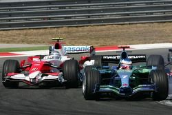 Jenson Button, Honda Racing F1 Team, RA107 and Jarno Trulli, Toyota Racing, TF107