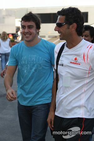 Fernando Alonso, McLaren Mercedes leaves the circuit with Pedro de la Rosa, Test Driver, McLaren Mer
