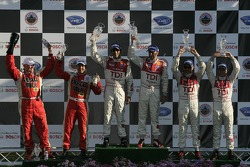 P1 podium: class winners Emanuele Pirro and Marco Werner, second place Rinaldo Capello and Allan McNish, third place Greg Pickett and Klaus Graf