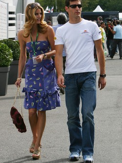 Mark Webber, Red Bull Racing with a girl in the paddock
