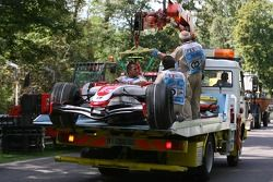 Car of Anthony Davidson, Super Aguri F1 Team, SA07 on the back of a truck