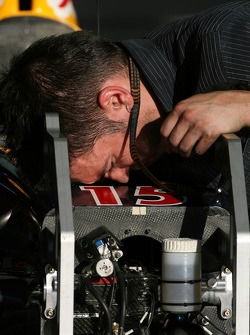 Red Bull Racing, team member works on the car