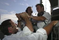Adrian Campos, Team principal celebrates Giorgio Pantano pole position