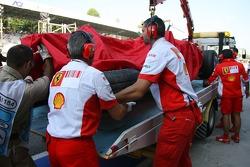 Kimi Raikkonen, Scuderia Ferrari, F2007, crashed heavily in Free Practice 3