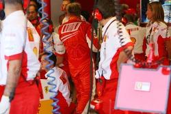 Kimi Raikkonen, Scuderia Ferrari, F2007, crashed heavily in Free Practice 3, returns to the garage