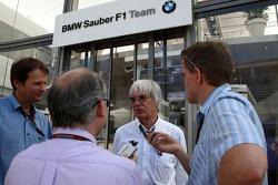 Bernie Ecclestone talks with Journalists