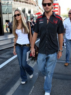 Jenson Button, Honda Racing F1 Team and his girlfriend Florence Brudenell-Bruce