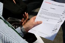 McLaren Mercedes statement on contact from Italian Authorities