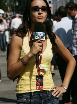 Janeth Lorenzo, Former Formula Una girl, screen testing for a job with Fox Sports TV