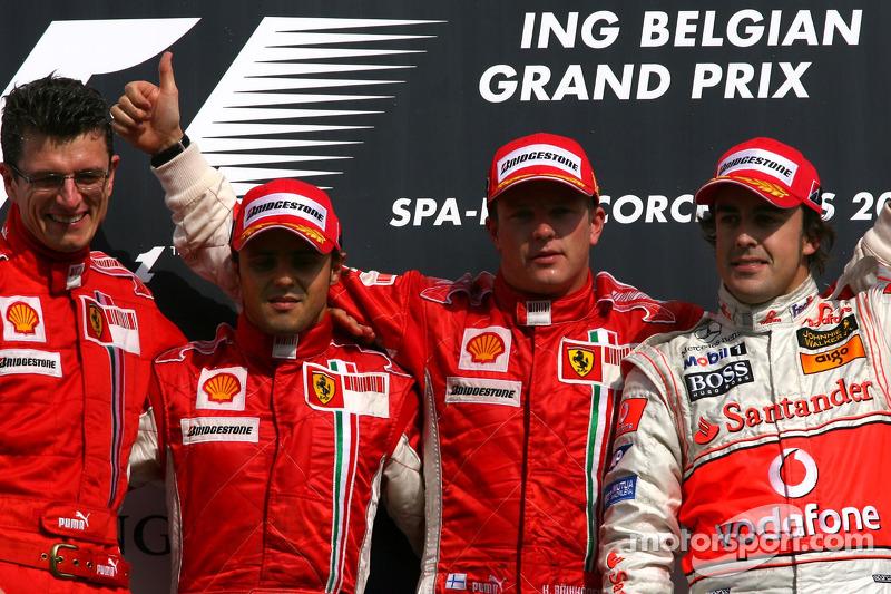 2007: 1. Kimi Raikkonen, 2. Felipe Massa, 3. Fernando Alonso