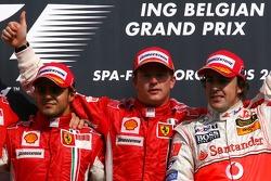 Podium: Sieger Kimi Räikkönen, 2. Felipe Massa, 3. Fernando Alonso