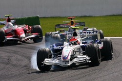 Robert Kubica, BMW Sauber F1 Team , David Coulthard, Red Bull Racing