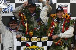 DP podium: class and overall winners Jim Matthews, Marc Goossens and Ryan Hunter-Reay