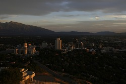 A view of Salt Lake City at sunset