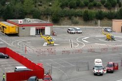The medical centre at Barcelona circuit with 2 helicopters in front