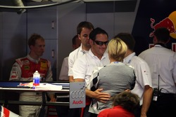 Hans-Jurgen Abt, Teamchef Abt-Audi is greeting Tina Thörner, girlfriend of Mattias Ekström welcome