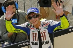 Valentino Rossi celebrates second place in qualifying