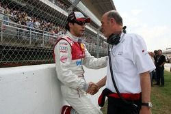 Lucas Luhr, Audi Sport Team Rosberg, Audi A4 DTM and Dr Wolfgang Ullrich, Audi's Head of Sport on the starting grid
