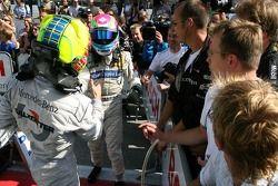 Bruno Spengler, Team HWA AMG Mercedes, congratulates Jamie Green, Team HWA AMG Mercedes, with his fi