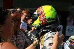 Race winner Jamie Green, Team HWA AMG Mercedes, AMG Mercedes C-Klasse, receives congratulations from his parents