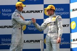 Podium: Paul di Resta, Persson Motorsport AMG Mercedes, congratulates Jamie Green, Team HWA AMG Mercedes, with his fist victory