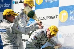 Podium: Jamie Green, Team HWA AMG Mercedes, gets a champagne shower from Bruno Spengler, Team HWA AMG Mercedes and Paul di Resta, Persson Motorsport AMG Mercedes