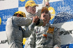 Podium: champagne shower for race winner Jamie Green, Team HWA AMG Mercedes