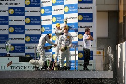 Podium: race winner Jamie Green, Team HWA AMG Mercedes, AMG Mercedes C-Klasse being sprayed on with champagne at the podium