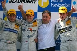 Podium: Jamie Green, Team HWA AMG Mercedes, Bruno Spengler, Team HWA AMG Mercedes, Paul di Resta, Pe