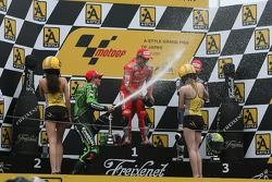 Podium: champagne for Loris Capirossi, Randy De Puniet and Toni Elias