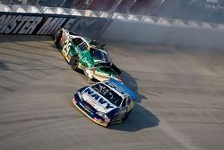 Brad Keselowski and Scott Wimmer tangle up in turn two