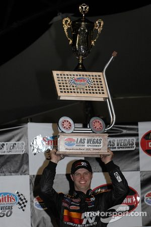Victory lane: race winner Travis Kvapil celebrates