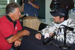 Press conference: racing legend Mario Andretti with racer and actor Patrick Dempsey