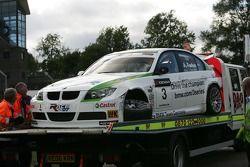 Augusto Farfus, BMW Team Germany, BMW 320si WTCC, crash damaged