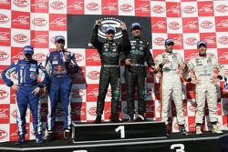 GT1 podium: class and overall winners Miguel Ramos and Christian Montanari, second place Karl Wendlinger and Ryan Sharp, third place Anthony Kumpen and Bert Longin