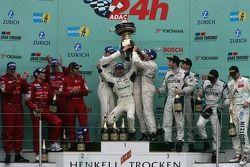 Podium: race winners Timo Bernhard, Marc Lieb, Romain Dumas and Marcel Tiemann, second place Christo