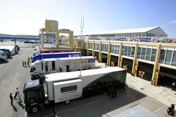 The GP2 Team trucks line up in the paddock