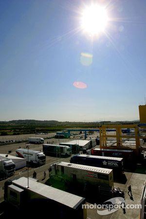 GP2 Team trucks in the paddock