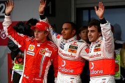 Pole winner Lewis Hamilton, McLaren Mercedes, second place Fernando Alonso, McLaren Mercedes, third place Kimi Raikkonen, Scuderia Ferrari