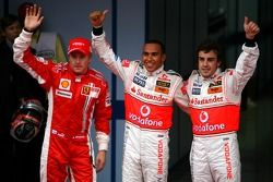 Pole winner Lewis Hamilton, McLaren Mercedes, second place Fernando Alonso, McLaren Mercedes, third