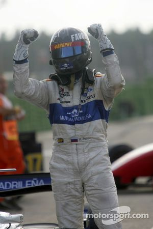 Vitaly Petrov celebrates his first GP2 Series victory