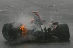 Fernando Alonso, McLaren Mercedes, crashes