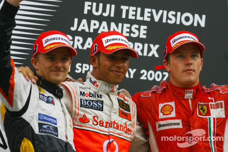 2007: 1. Lewis Hamilton, 2. Heikki Kovalainen, 3. Kimi Räikkönen