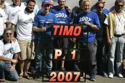 Timo Glock and the iSport team celebrate winning the 2007 GP2 Championship