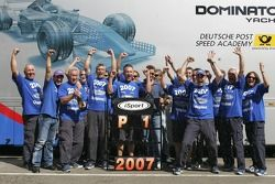Timo Glock and the iSport team celebrate winning the 2007 GP2 Series Championship