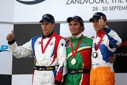 Podium, Adrian Zaugg, pilote A1 Equipe d'Afrique du Sud, Loic Duval, pilote A1 Equipe de France, Jer